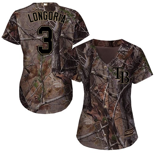 Rays #3 Evan Longoria Camo Realtree Collection Cool Base Women's Stitched MLB Jersey