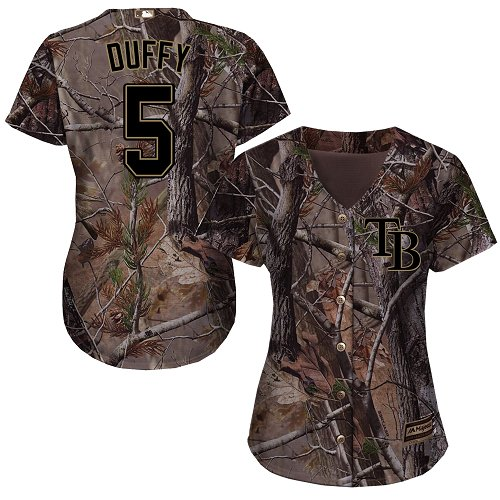 Rays #5 Matt Duffy Camo Realtree Collection Cool Base Women's Stitched MLB Jersey