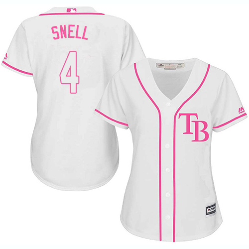 Rays #4 Blake Snell White/Pink Fashion Women's Stitched MLB Jersey