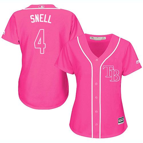 Rays #4 Blake Snell Pink Fashion Women's Stitched MLB Jersey