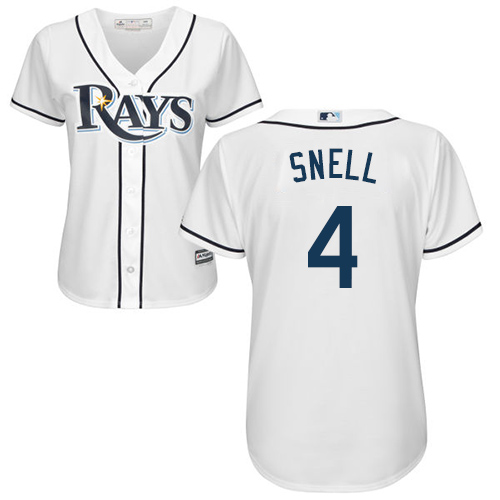 Rays #4 Blake Snell White Home Women's Stitched MLB Jersey