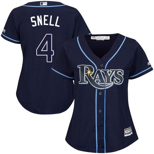 Rays #4 Blake Snell Dark Blue Alternate Women's Stitched MLB Jersey