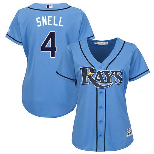 Rays #4 Blake Snell Light Blue Alternate Women's Stitched MLB Jersey