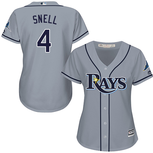 Rays #4 Blake Snell Grey Road Women's Stitched MLB Jersey