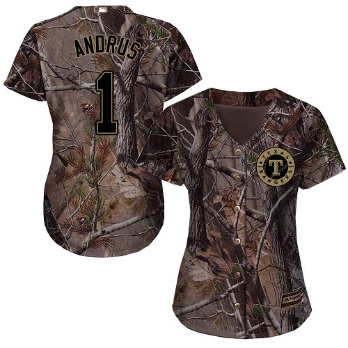 Rangers #1 Elvis Andrus Camo Realtree Collection Cool Base Women's Stitched MLB Jersey