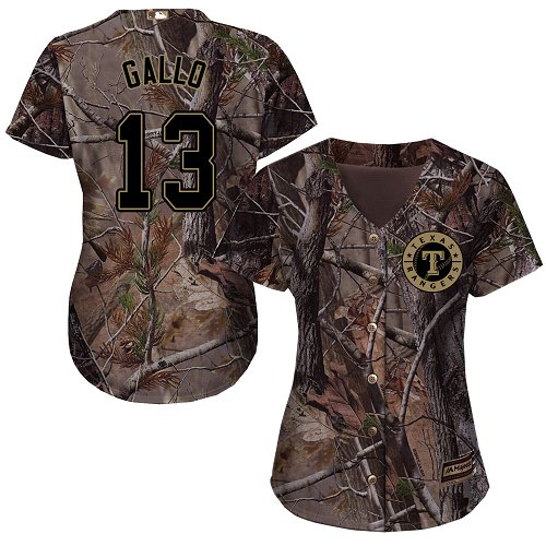 Rangers #13 Joey Gallo Camo Realtree Collection Cool Base Women's Stitched MLB Jersey