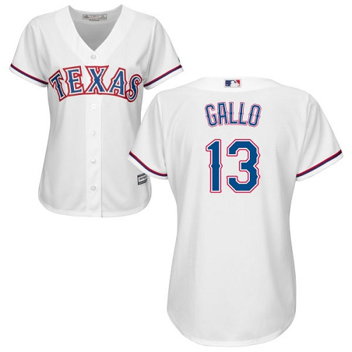 Rangers #13 Joey Gallo White Home Women's Stitched MLB Jersey