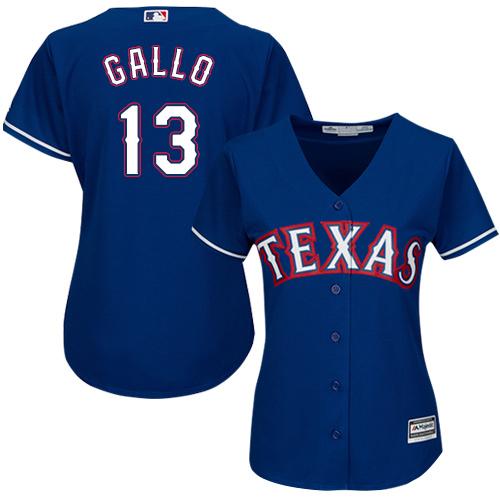 Rangers #13 Joey Gallo Blue Alternate Women's Stitched MLB Jersey
