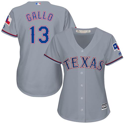 Rangers #13 Joey Gallo Grey Road Women's Stitched MLB Jersey