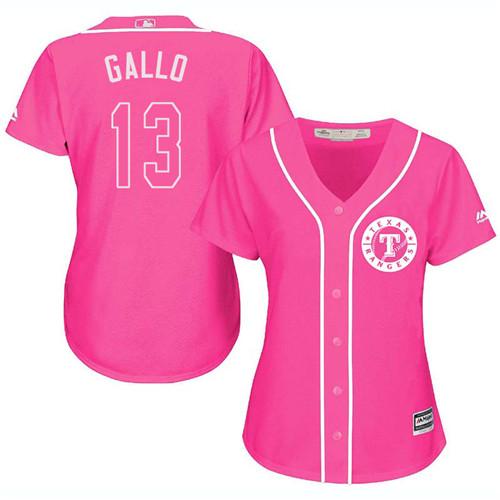 Rangers #13 Joey Gallo Pink Fashion Women's Stitched MLB Jersey