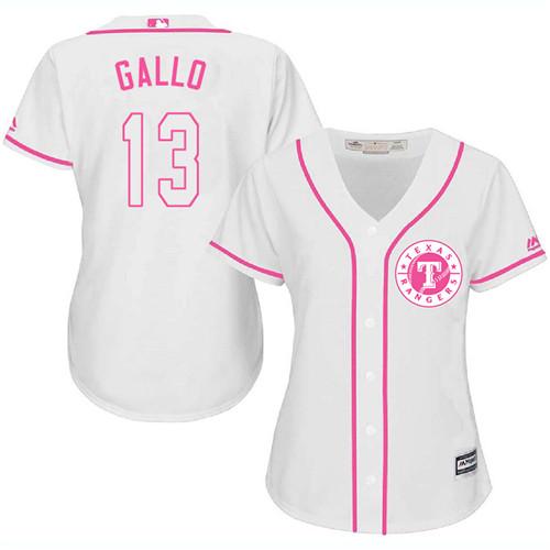 Rangers #13 Joey Gallo White/Pink Fashion Women's Stitched MLB Jersey