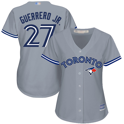 Blue Jays #27 Vladimir Guerrero Jr. Grey Road Women's Stitched MLB Jersey