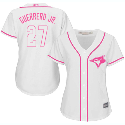 Blue Jays #27 Vladimir Guerrero Jr. White/Pink Fashion Women's Stitched MLB Jersey