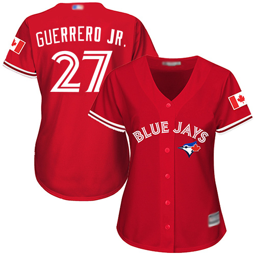 Blue Jays #27 Vladimir Guerrero Jr. Red Canada Day Women's Stitched MLB Jersey