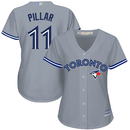 Blue Jays #11 Kevin Pillar Grey Road Women's Stitched MLB Jersey