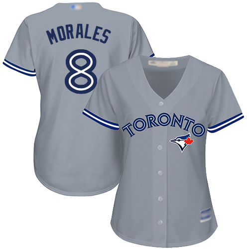Blue Jays #8 Kendrys Morales Grey Road Women's Stitched MLB Jersey