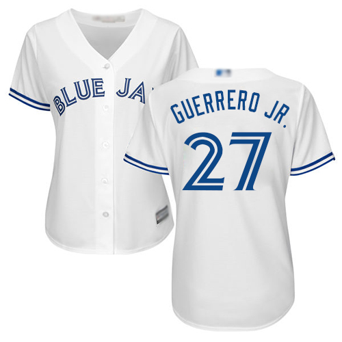 Blue Jays #27 Vladimir Guerrero Jr. White Home Women's Stitched MLB Jersey