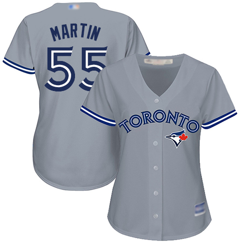 Blue Jays #55 Russell Martin Grey Road Women's Stitched MLB Jersey