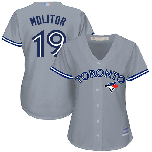 Blue Jays #19 Paul Molitor Grey Road Women's Stitched MLB Jersey