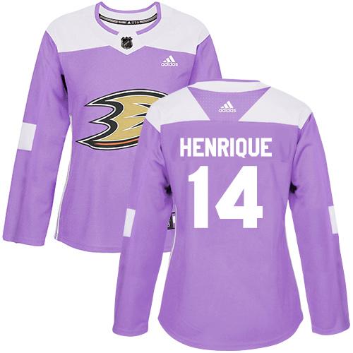 Adidas Ducks #14 Adam Henrique Purple Authentic Fights Cancer Women's Stitched NHL Jersey