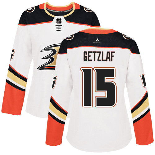 Adidas Ducks #15 Ryan Getzlaf White Road Authentic Women's Stitched NHL Jersey