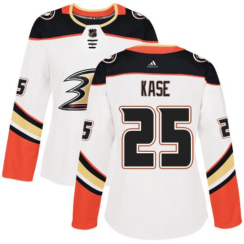 Adidas Ducks #25 Ondrej Kase White Road Authentic Women's Stitched NHL Jersey