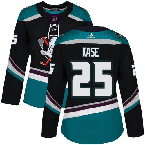 Adidas Ducks #25 Ondrej Kase Black/Teal Alternate Authentic Women's Stitched NHL Jersey