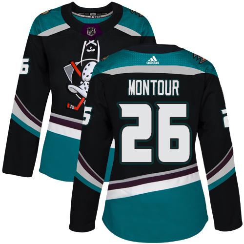 Adidas Ducks #26 Brandon Montour Black/Teal Alternate Authentic Women's Stitched NHL Jersey