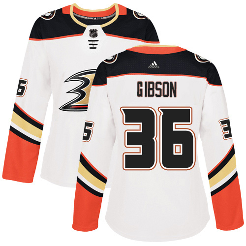 Adidas Ducks #36 John Gibson White Road Authentic Women's Stitched NHL Jersey