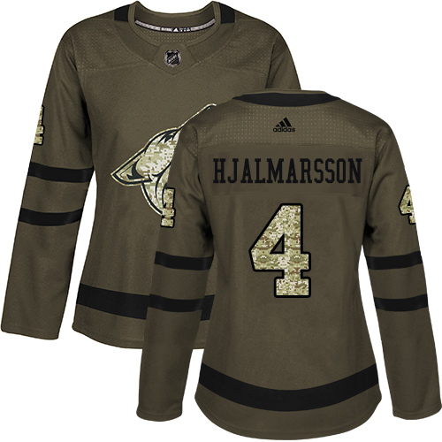 Adidas Coyotes #4 Niklas Hjalmarsson Green Salute to Service Women's Stitched NHL Jersey