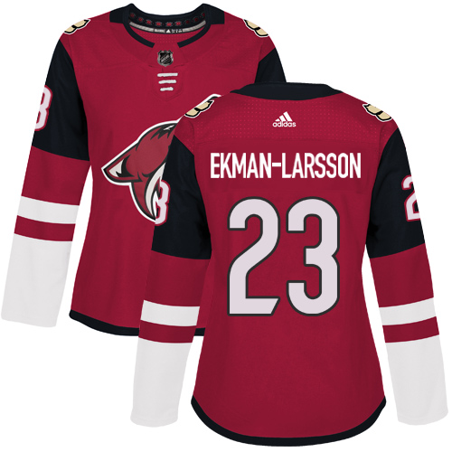 Adidas Coyotes #23 Oliver Ekman-Larsson Maroon Home Authentic Women's Stitched NHL Jersey