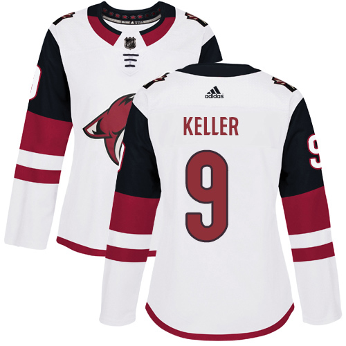 Adidas Coyotes #9 Clayton Keller White Road Authentic Women's Stitched NHL Jersey