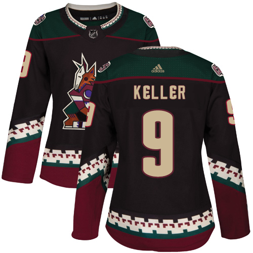 Adidas Coyotes #9 Clayton Keller Black Alternate Authentic Women's Stitched NHL Jersey