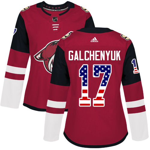 Adidas Coyotes #17 Alex Galchenyuk Maroon Home Authentic USA Flag Women's Stitched NHL Jersey