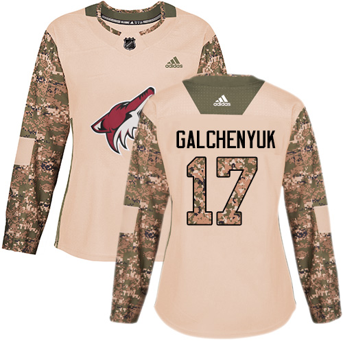 Adidas Coyotes #17 Alex Galchenyuk Camo Authentic 2017 Veterans Day Women's Stitched NHL Jersey