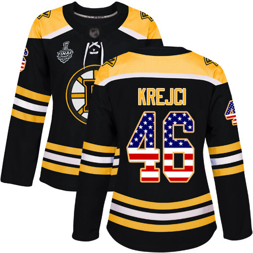 Adidas Bruins #46 David Krejci Black Home Authentic USA Flag Stanley Cup Final Bound Women's Stitched NHL Jersey