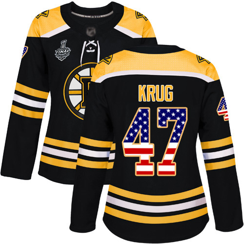 Adidas Bruins #47 Torey Krug Black Home Authentic USA Flag Stanley Cup Final Bound Women's Stitched NHL Jersey