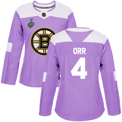 Adidas Bruins #4 Bobby Orr Purple Authentic Fights Cancer Stanley Cup Final Bound Women's Stitched NHL Jersey