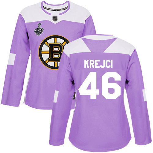 Adidas Bruins #46 David Krejci Purple Authentic Fights Cancer Stanley Cup Final Bound Women's Stitched NHL Jersey