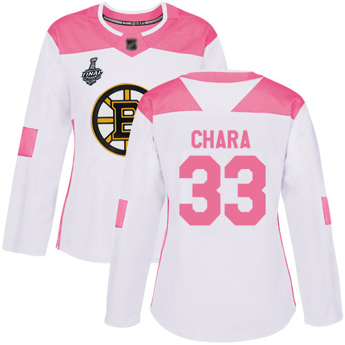 Adidas Bruins #33 Zdeno Chara White/Pink Authentic Fashion Stanley Cup Final Bound Women's Stitched NHL Jersey