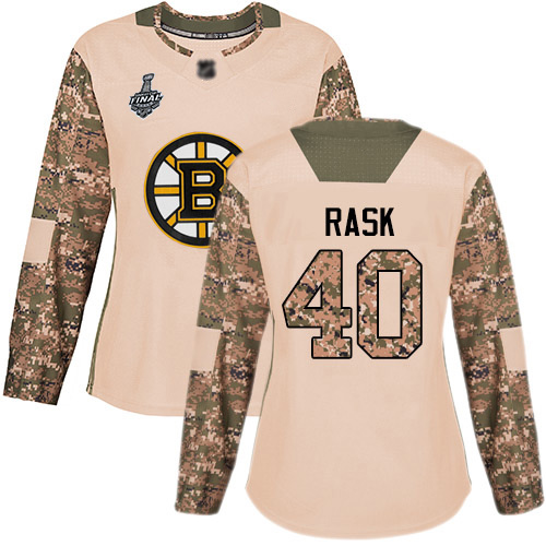 Adidas Bruins #40 Tuukka Rask Camo Authentic 2017 Veterans Day Stanley Cup Final Bound Women's Stitched NHL Jersey