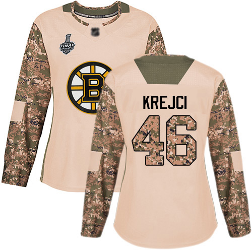 Adidas Bruins #46 David Krejci Camo Authentic 2017 Veterans Day Stanley Cup Final Bound Women's Stitched NHL Jersey