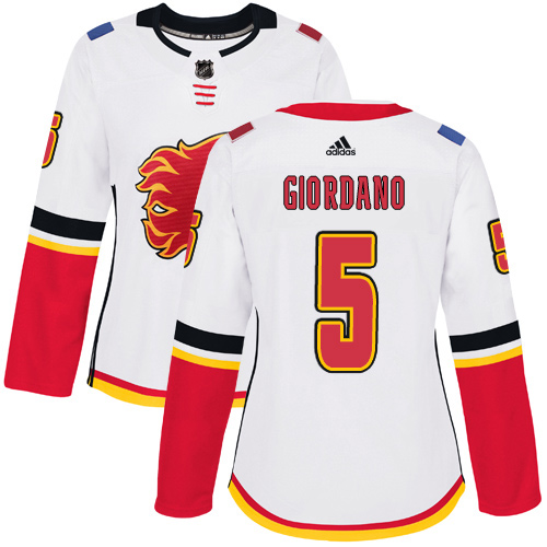 Adidas Flames #5 Mark Giordano White Road Authentic Women's Stitched NHL Jersey