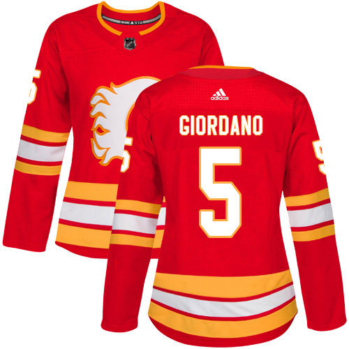 Adidas Flames #5 Mark Giordano Red Alternate Authentic Women's Stitched NHL Jersey