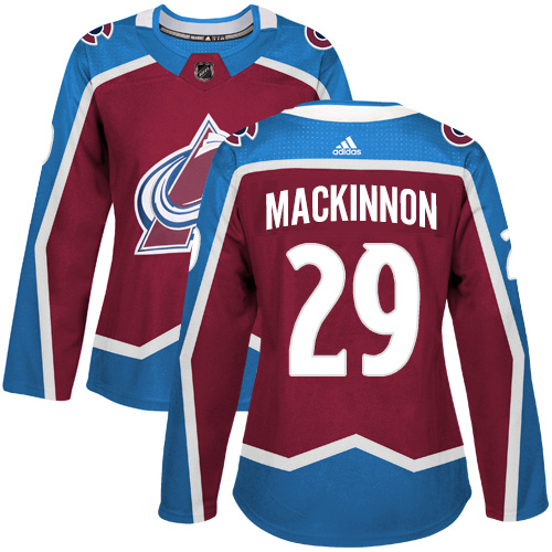 Adidas Avalanche #29 Nathan MacKinnon Burgundy Home Authentic Women's Stitched NHL Jersey