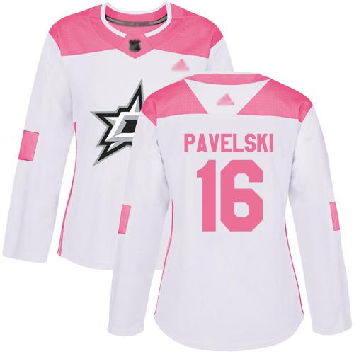 Adidas Stars #16 Joe Pavelski White/Pink Authentic Fashion Women's Stitched NHL Jersey