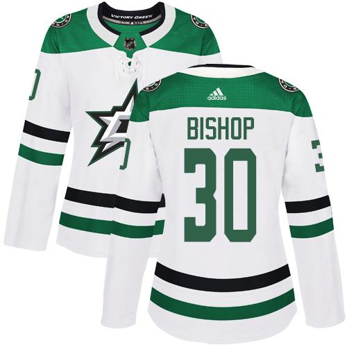 Adidas Stars #30 Ben Bishop White Road Authentic Women's Stitched NHL Jersey