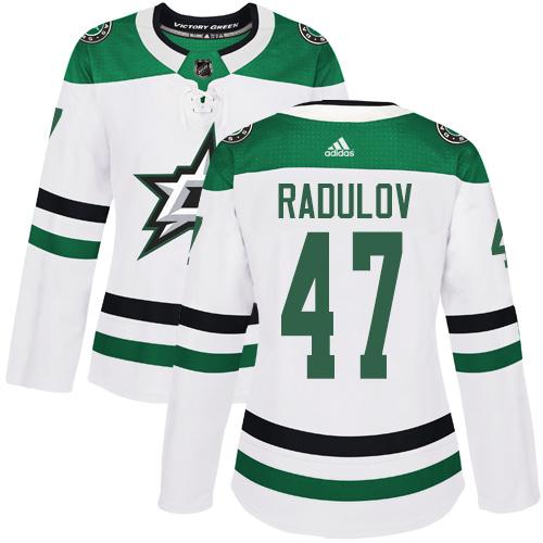 Adidas Stars #47 Alexander Radulov White Road Authentic Women's Stitched NHL Jersey