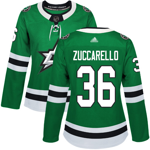 Adidas Stars #36 Mats Zuccarello Green Home Authentic Women's Stitched NHL Jersey