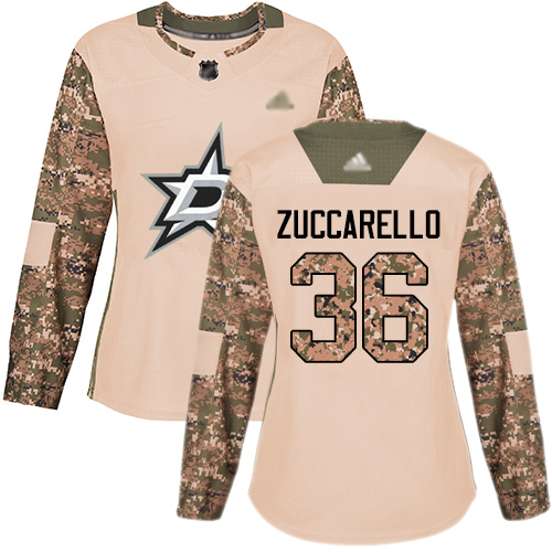 Adidas Stars #36 Mats Zuccarello Camo Authentic 2017 Veterans Day Women's Stitched NHL Jersey